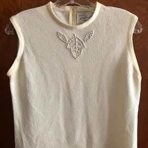 Vintage embellished cream tank